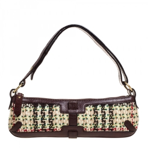 Burberry Multicolor Tweed and Leather Zip Baguette Bag