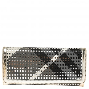 Burberry Multicolor Nova Check Fabric and Patent Leather Flap Continental Wallet