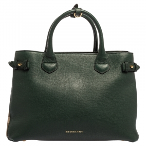 Burberry Sea Green Leather and House Check Fabric Medium Banner Tote