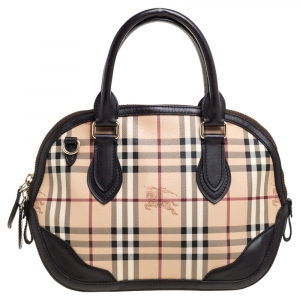 Burberry Beige/Brown Haymarket Check Coated Canvas and Leather Small Orchard Bowler Bag