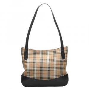 Burberry Brown Haymarket Check Tote Bag