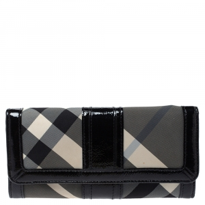 Burberry Grey/Black Beat Check Nylon and Patent Leather Penrose Continental Wallet