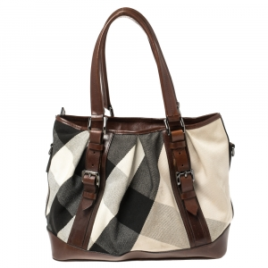 Burberry Beige/Brown Mega Check Canvas and Leather Lowry Tote