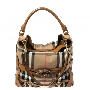 Burberry Beige/Brown House Check Canvas and Leather Medium Bridle Gosford Hobo