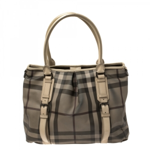 Burberry Grey/Beige Smoke Check Coated Canvas and Leather Large Northfield Tote