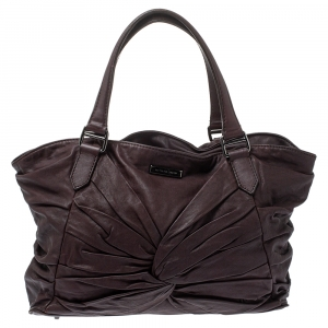 Burberry Dark Plum Soft Leather Knot Healy Tote