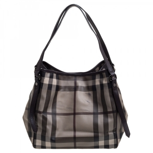 Burberry Grey Smoked Check Coated Canvas and Leather Small Canterbury Tote