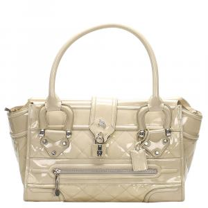 Burberry Beige Patent Leather Quilted Top Handle Bag