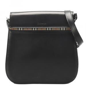Burberry Black Leather House Check Detail Crossbody Bag