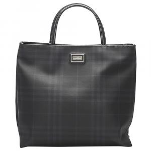 Burberry Black Leather/PVC Check Tote Bag