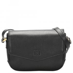 Burberry Black Leather Flap  Shoulder Bags