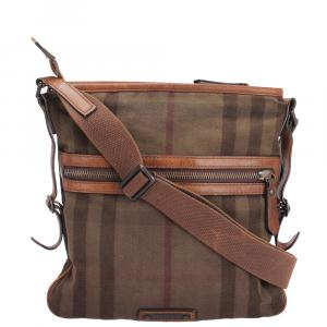 Burberry Brown Canvas, Leather   Messengers Bag