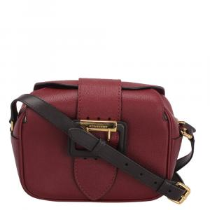 Burberry Red Leather Buckle Camera Crossbody Bag