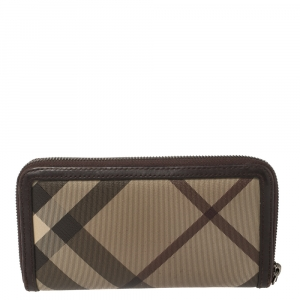 Burberry Beige/Brown Smoked Check Coated Canvas and Leather Zip Around Wallet