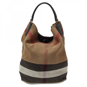 Burberry Black/Beige House Check Canvas Leather Susanna Bucket Bag