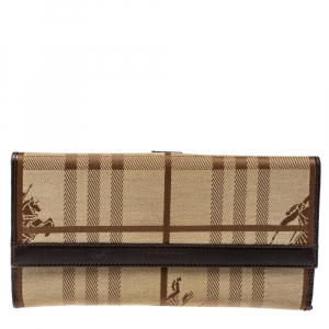 Burberry Beige/Brown Haymarket Check Fabric and Leather Continental Wallet