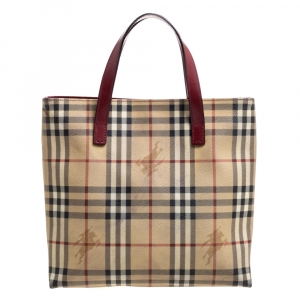 Burberry Beige/Burgundy Haymarket Check Coated Canvas Tote