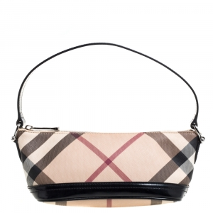 Burberry Beige/Black Nova Check Coated Canvas and Leather Baguette Bag