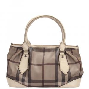 Burberry  Multicolor Smoked Check Canvas Satchel Bag