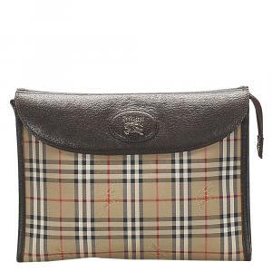 Burberry Brown/Multicolor Haymarket Check Canvas Clutch Bag