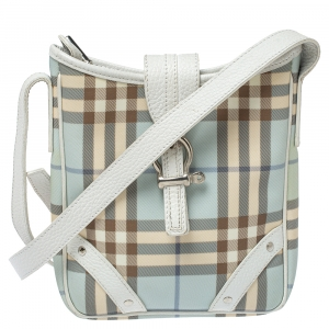 Burberry Blue/White House Check Coated Canvas and Leather Buckle Flap Crossbody Bag