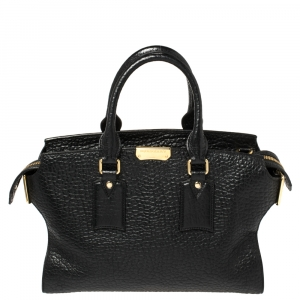 Burberry Black Grain Leather Clifton Signature Tote