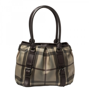 Burberry Plum House Check PVC and Leather Lowry Shoulder Bag