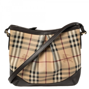 Burberry Beige Haymarket Check Coated Canvas and Leather Hartham Crossbody Bag