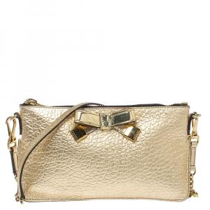 Burberry Metallic Gold Leather Bow Peyton Crossbody Bag