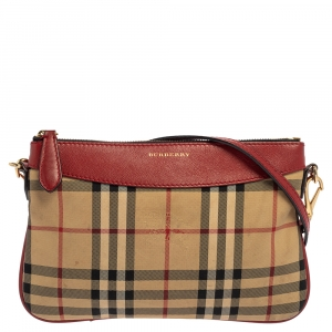Burberry Red/Beige Haymarket Check Fabric and Leather Peyton Crossbody Bag
