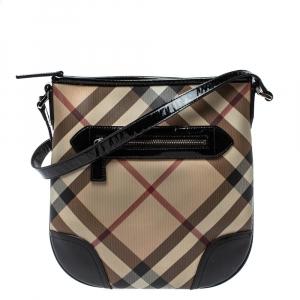 Burberry Black/Beige Coated Canvas and Patent Leather Dryden Shoulder Bag