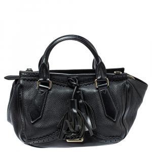 Burberry Black Brogue Leather Tassel Satchel