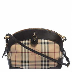 Burberry Beige/Dark Brown Haymarket PVC and Leather Small Primrose Crossbody Bag