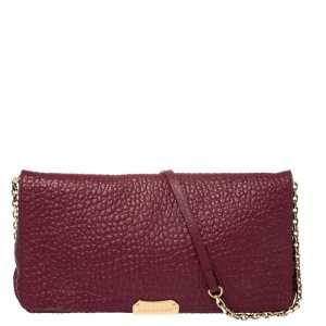 Burberry Burgundy Grain Leather Mildenhall Shoulder Bag