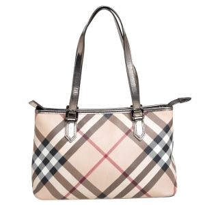 Burberry Beige/Black Nova Check Coated Canvas and Leather Nickie Tote