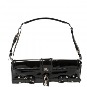 Burberry Black Patent Leather Shoulder Bag