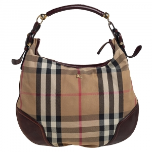 Burberry Beige/Brown House Check Canvas and Leather Hoxton Hobo