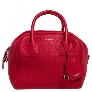 حقيبة بربري كوبي جلد مُحبب أحمر