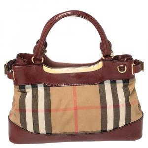 Burberry Burgundy/Beige House Check Canvas and Leather Hepburn Shoulder Bag