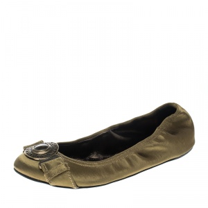 Burberry Green Satin Clasp Ballet Flats Size 37 - used