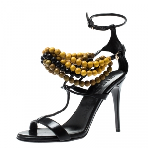 Burberry Prorsum Black T Strap Beaded Sandals Size 37 - used