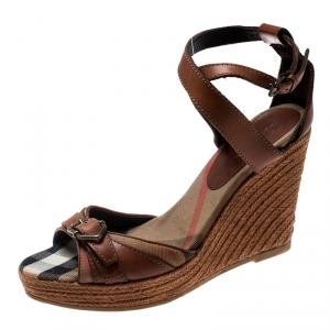 Burberry Brown Leather And Canvas Espadrille Ankle Wrap Wedge Platform Sandals Size 40 - used