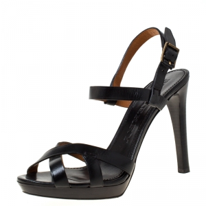 Burberry Black Leather Bridle Ankle Strap Sandals Size 41 - used