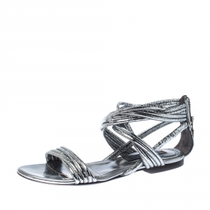 Burberry Metallic Silver Foil Leather Ankle Strap Flat Sandals Size 35 - used