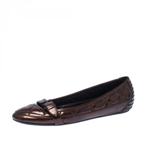 Burberry Brown Quilted Patent Leather Ballet Flats Size 37 - used