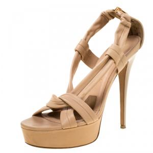 Burberry Beige Leather Strap Platform Sandals Size 38 - used