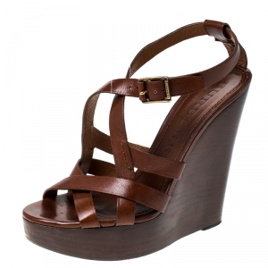 Burberry Brown Leather Strappy Wedge Platform Sandals Size 38 - used