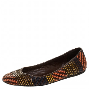 Burberry Multicolor Woven Leather Ballet Flat Size 38.5 - used
