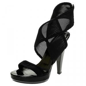 Burberry Black Mesh Platform Ankle Wrap Sandals Size 38 - used