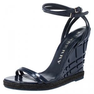 Burberry Navy Blue Patent Leather Strappy Wedge Sandals Size 40 - used